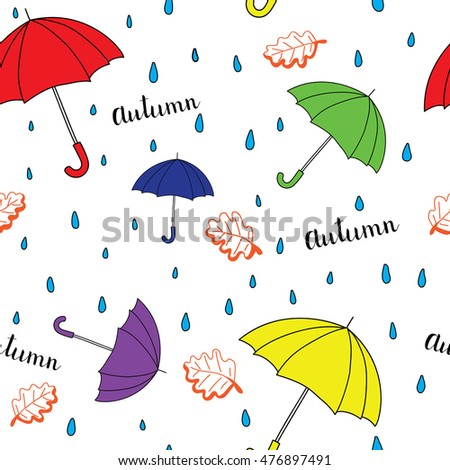 Seamless autumn pattern with umbrella. Bright autumn postcard. Vector illustration.