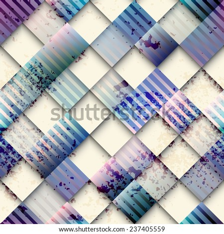 Seamless background pattern. Grunge geometric pattern of squares. - stock vector