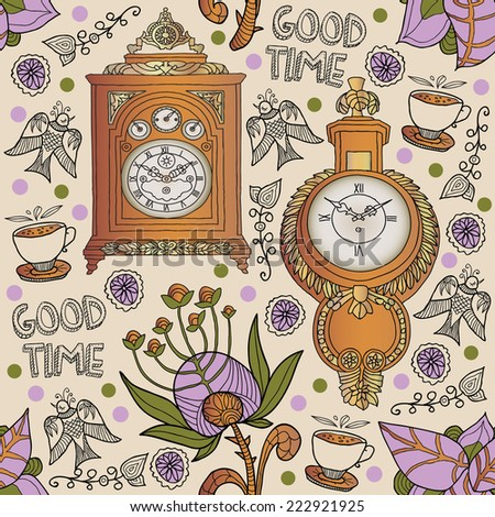 seamless background with a clock - stock vector