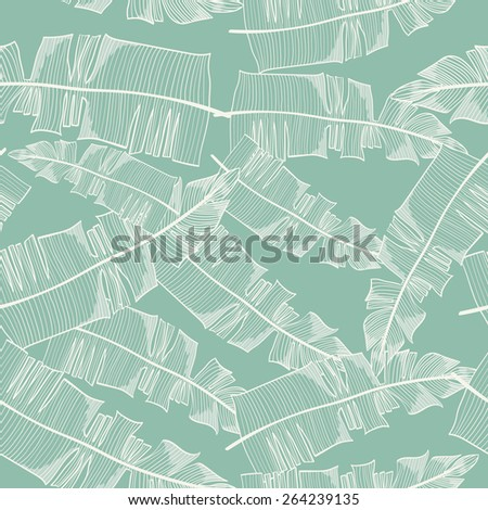 Seamless background with palm leaves - stock vector