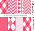 8 Seamless Chevron and Argyle Patterns in Hot Pink, Pink and White. Pattern Swatches Included. Global colors - makes it easy to change all patterns in one click. Modern Valentine Day Backgrounds. - stock photo