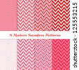 8 Seamless Chevron Patterns in Red, Deep Pink, Pale Pink and White. Pattern Swatches Included. Global colors - makes it easy to change all patterns in one click. Modern Valentine Day Backgrounds. - stock photo