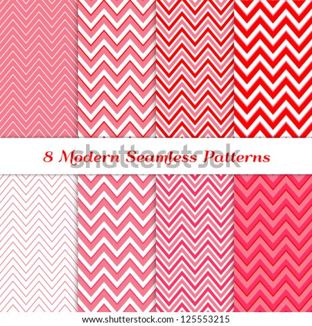 8 Seamless Chevron Patterns in Red, Deep Pink, Pale Pink and White. Pattern Swatches Included. Global colors - makes it easy to change all patterns in one click. Modern Valentine Day Backgrounds. - stock vector
