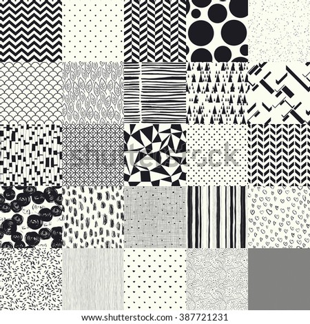25 seamless different vector patterns. - stock vector