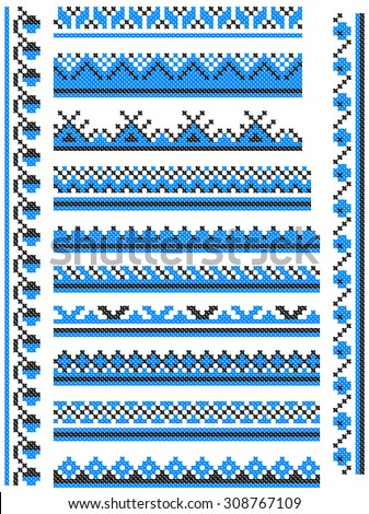 12 seamless embroidered good like handmade cross-stitch ethnic Ukraine pattern - stock vector