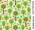 Seamless forest pattern with owls, birds, trees, leafs, mushrooms and flowers - stock vector