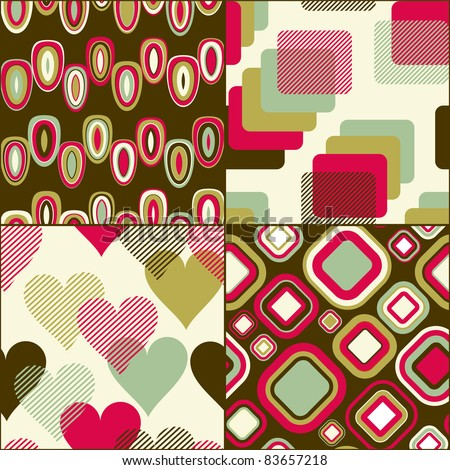 Seamless geometric pattern  set for fabric and furniture. Beautiful wallpaper (vector) - stock vector