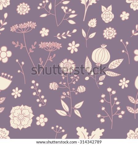 Seamless hand drawn flower pattern - stock vector