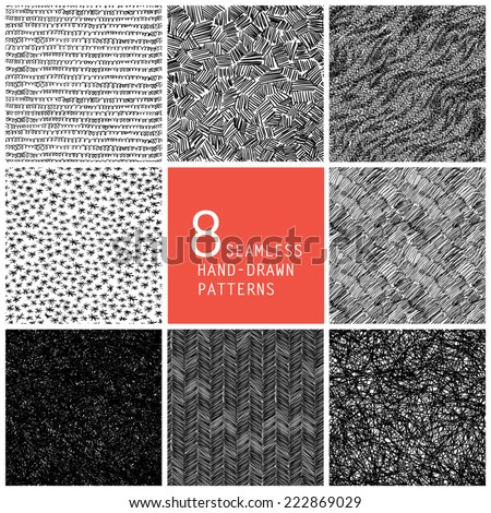 8 seamless hand-drawn patterns - stock vector