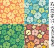 Seamless hibiscus pattern set. repeating floral pattern - stock vector