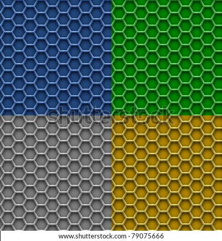 4 seamless honeycomb patterns. Hexagon metal background