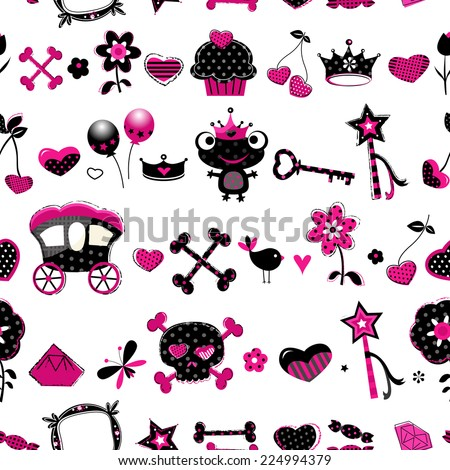 seamless pattern in black, pink and red  - stock vector