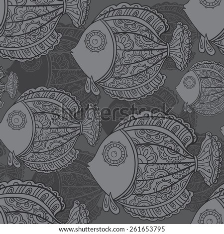 seamless pattern of a lot of beautiful decorative ornamental fishes