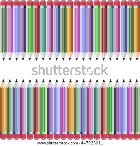 Seamless pattern of color pencils vector illustration. Colorful crayons design element.  - stock vector
