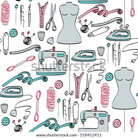 Seamless pattern sketch  tailoring equipment,  sewing machine.  - stock vector