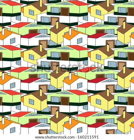 seamless pattern town, village - stock vector