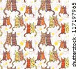 seamless pattern with cute cats. vector illustration - stock vector