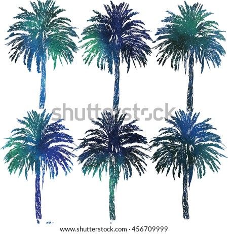 Seamless pattern with date palms . Stylish summer background . Exotic , summer, sea .