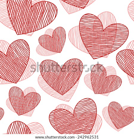 Seamless pattern with hand drawn hearts. St Valentine's day background. Cute texture with line hearts - stock vector