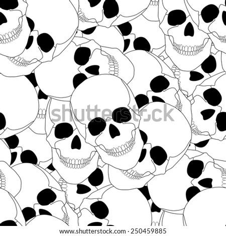 seamless pattern with skulls. vector  illustration. vector wallpaper. design element. - stock vector
