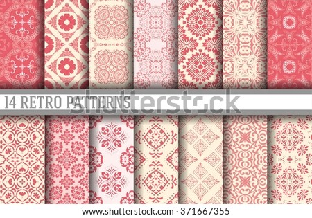 14 Seamless Patterns Background Collection - vector - stock vector