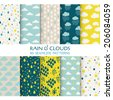 10 Seamless Patterns - Rain and Clouds - Texture for wallpaper, background, texture, scrapbook - in vector - stock