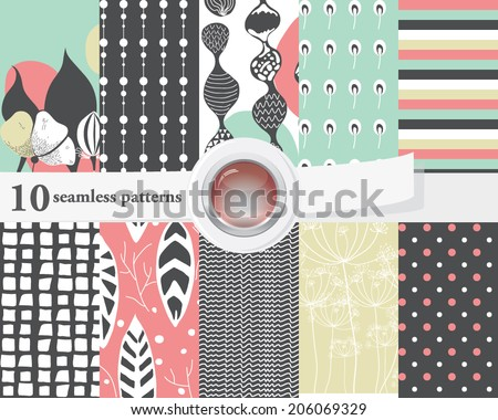 10 seamless patterns (tiling), in contrast color, arranged in a set. Endless texture can be used for wallpaper, pattern fills, web page background, surface textures. - stock vector