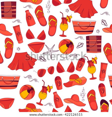 Seamless red pattern with summer symbols - clothes and things. Color white,  red,yellow. Endless texture with summer objects for your design - stock vector