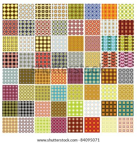 64 seamless retro patterns - stock vector