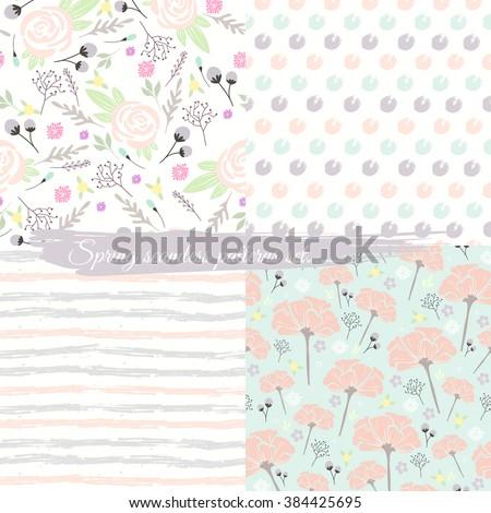 Seamless spring floral patterns set. Background with flowers. pattern, pattern, pattern, pattern, pattern, pattern, pattern, pattern, pattern, pattern, pattern, pattern, pattern, pattern, pattern,  - stock vector
