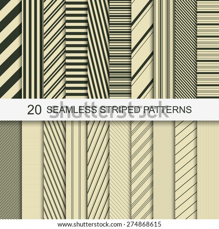 20 Seamless striped vector patterns - stock vector