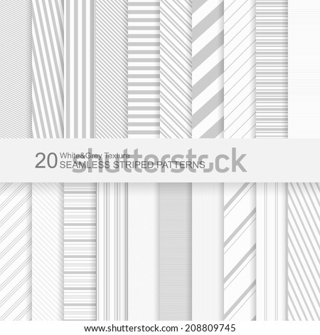20 Seamless striped vector patterns, white and grey texture. - stock vector