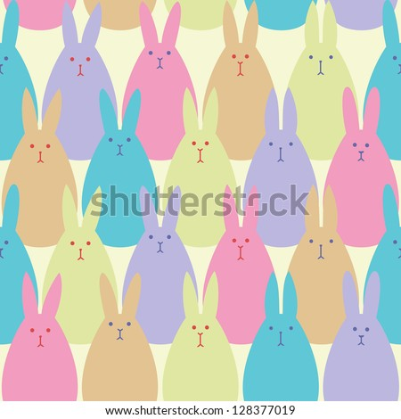 Seamless vector pattern with egg-shaped colorful bunnies. - stock vector
