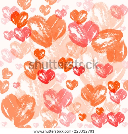 Seamless watercolor heart pattern. Valentine's day background - stock vector