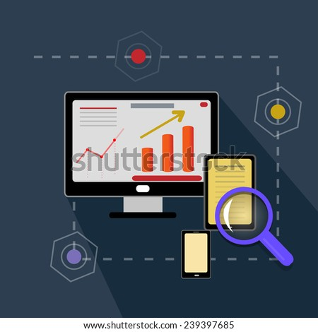 search optimization  with bright pictures and words - stock vector