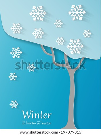 Seasons concept.Winter card.  - stock vector