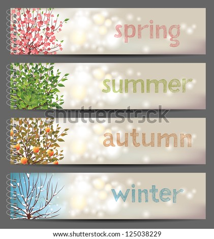 4 seasons horizontal banners. EPS 10 - stock vector
