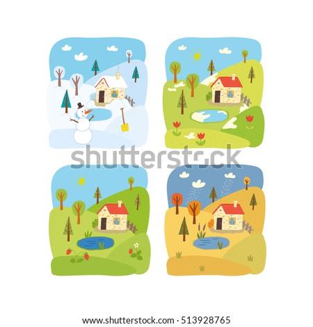 Four Seasons Background Banque d'images, d'images et d'images ...