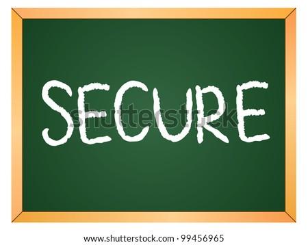 """""""secure"""" word written on chalkboard - stock vector"""