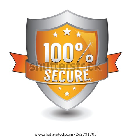 100% secured protection orange shield - stock vector