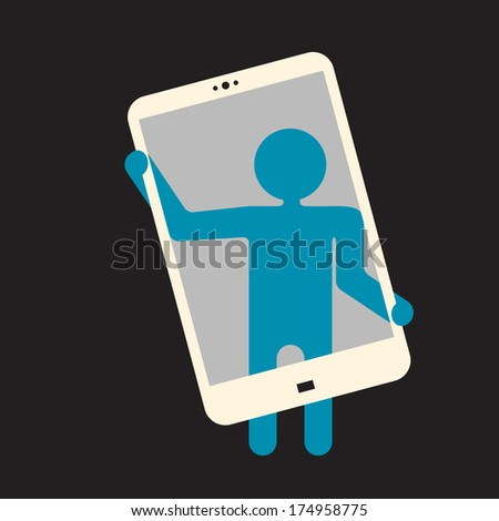 selfie -  self-portrait photograph  taken with a  smartphone. - stock vector