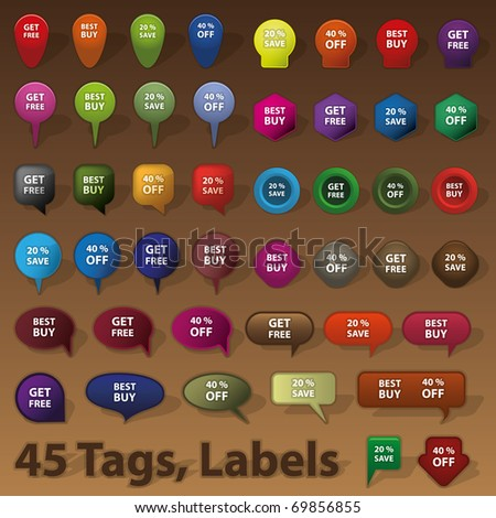 45 Selling Badges, Tags, Labels - stock vector