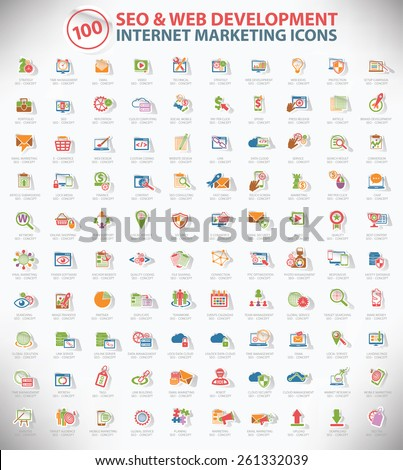 100 SEO and development icon set,Internet marketing icon set,Sticker design,clean vector - stock vector
