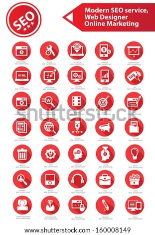 SEO, Development, Internet & Marketing icons,Red version,vector - stock vector