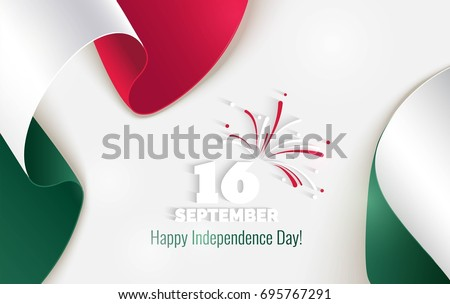 16 September, Mexico Happy Independence Day greeting card. Waving mexican flags isolated on white background. Patriotic Symbolic background  Vector illustration