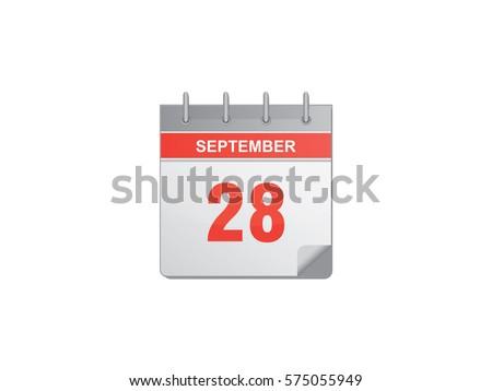 28 September Red Calendar Vector Illustration On White Background