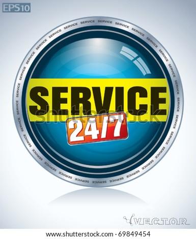 24/7 service button - stock vector