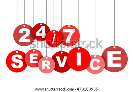 24/7 service, red vector 24/7 service, paper circle tag 24/7 service, element 24/7 service, sign 24/7 service, design 24/7 service, picture 24/7 service, illustration 24/7 service, 24/7 service eps10