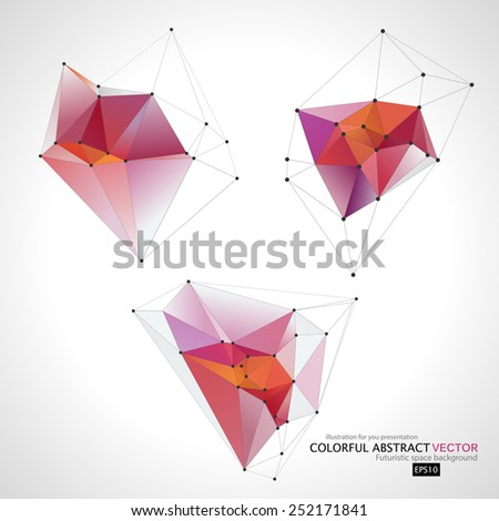 Set abstract geometric background with polygons.  Vector illustration for you business presentations/ EPS10 - stock vector