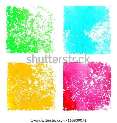 Set abstract watercolor spots isolated on white background. Hand painting. Grunge texture - vector - stock vector